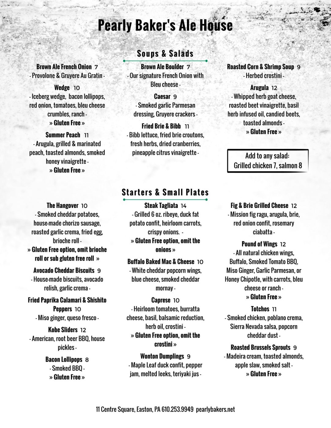 All Day Menu | Pearly Baker's Alehouse | (610) 253-9949